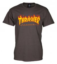 Thrasher T Shirt Flame Logo - Charcoal